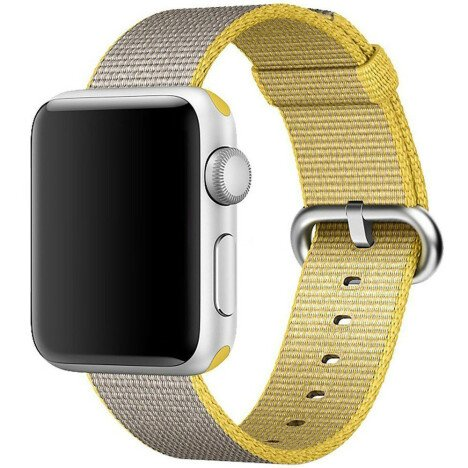 Curea iUni compatibila cu Apple Watch 1/2/3/4/5/6, 40mm, Nylon, Woven Strap, Yellow/Gray
